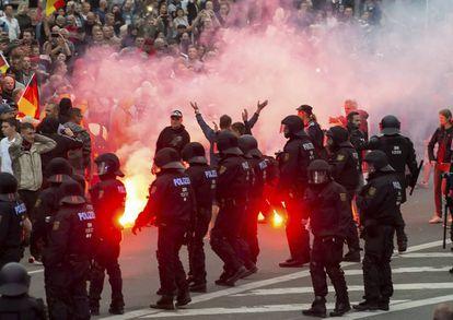 Manifestación ultraderechista que tuvo lugar el pasado agosto en Chemnitz, al este de Alemania.