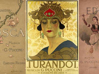 Carteles de las óperas de Giacomo Puccini 'Tosca', 'Turandot' y 'Edgar'.