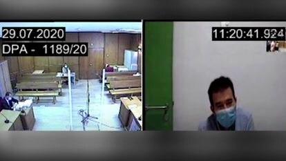 José Manuel Calvente, el pasado 29 de julio, durante su declaración por videoconferencia ante el juez.