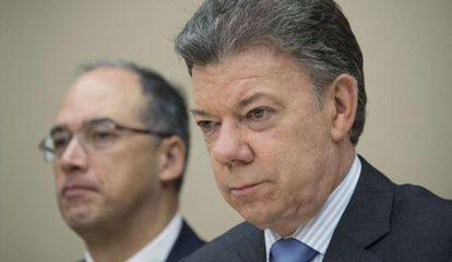 Juan Manuel Santos en una rueda de prensa el 4 de diciembre.