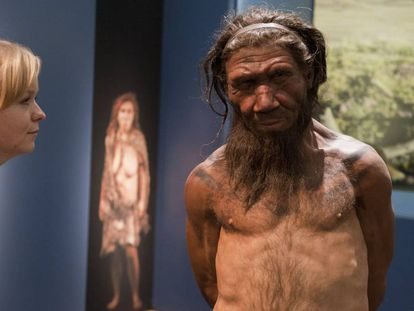 Una mujer observa la reproducción de un neandertal en una exposición sobre esa especie en Londres.