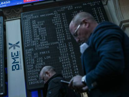 Patio de operaciones de la Bolsa de Madrid