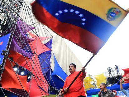Nicolás Maduro, en un acto de cierre de campaña este jueves en Caracas.