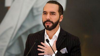Nayib Bukele, presidente de El Salvador, en una conferencia de prensa en junio pasado.