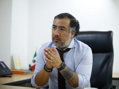 Omar Gómez Trejo, este jueves durante la entrevista en Ciudad de México.