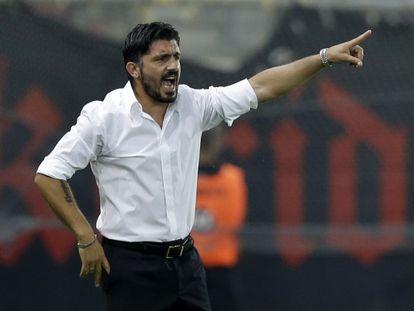 Gattuso da instrucciones durante un partido del pasado mes de septiembre.
