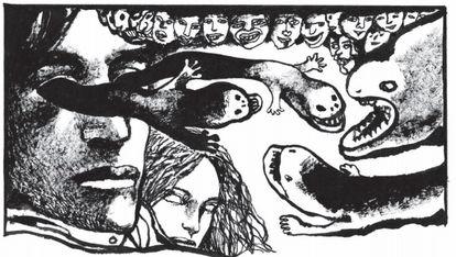 Una viñeta de 'Travesti', adaptación al cómic de Edmond Baudoin de la novela de Mircea Cărtărescu.