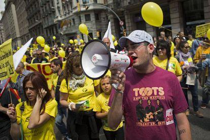 Manifestación contra los recortes en educación en Barcelona el pasado 10 de mayo.