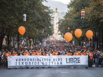Manifestación celebrada en Bilbao en 2013, en rechazo al juicio de la Audiencia Nacional en contra de los jóvenes.