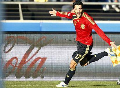 Dani Güiza celebra uno de sus dos goles.
