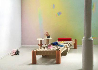 Tumbona de Luca Brucculeri para la exposición 'Tributo a Etel Adnan', en la Design Unique Piece de la L&B Gallery, que, durante la Barcelona Design Week. |