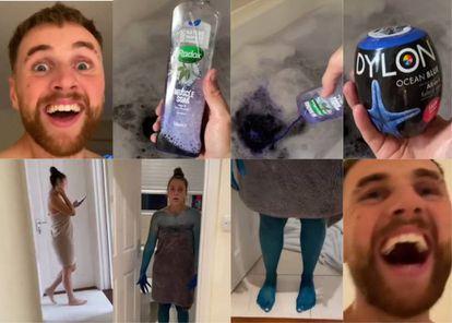 Kristen Hanby es un 'youtuber' británico que a comienzos de septiembre recibió duras críticas en Internet tras una broma pesada a su novia en la que tiñó su cuerpo de azul echando productos químicos en la bañera, como se puede ver en la sucesión de imágenes.