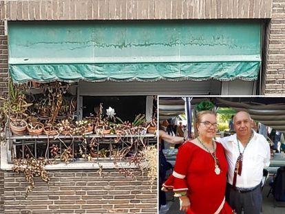 El balcón abandonado (izquierda) y el matrimonio en una foto familiar (derecha)