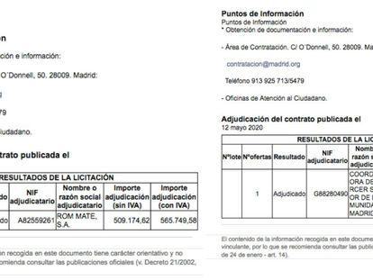 A la izquierda, el contrato con Room Mate subido y borrado del portal de contratación de la Comunidad de Madrid este mismo martes. A la derecha, el contrato real, según el Gobierno regional.