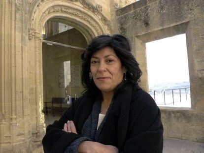 Almudena Grandes, ayer en el palacio de la Mota en Alcalá la Real, en Jaén.