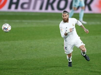 Sergio Ramos, en el partido contra el Granada en el Di Stéfano.