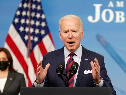 El presidente Joe Biden da una conferencia de prensa el 7 de abril, en la Casa Blanca.