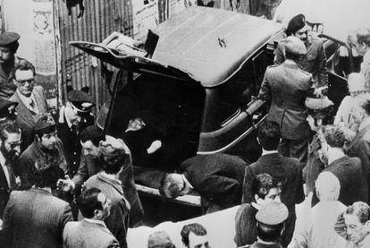 El cadáver de Aldo Moro, hallado en mayo de 1978 en el maletero de un coche en Roma tras ser asesinado por las Brigadas Rojas.