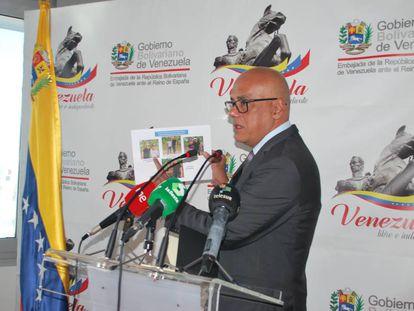 Jorge Rodríguez, vicepresidente de Comunicación, Turismo y Comercio del Gobierno venezolano, esta tarde en Madrid.