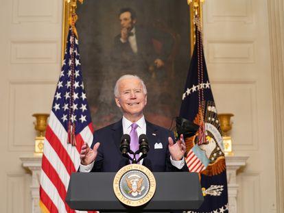 El presidente Joe Biden da una rueda de prensa sobre la respuesta a la covid, el 26 de enero.