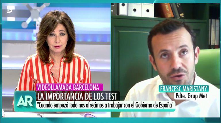 Un momento de la entrevista de Ana Rosa al empresario Francesc Maristany.