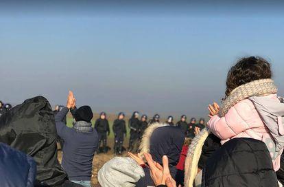 Manifestación en la frontera entre Serbia y Croacia el pasado 25 de diciembre.