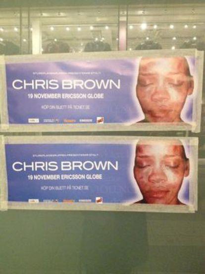 Póster de un concierto en Estocolmo de Chris Brown rediseñado por un grupo anónimo de activistas contra el maltrato.