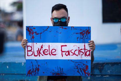 Protesta contra Nayib Bukele en San Salvador, el pasado 5 de septiembre.