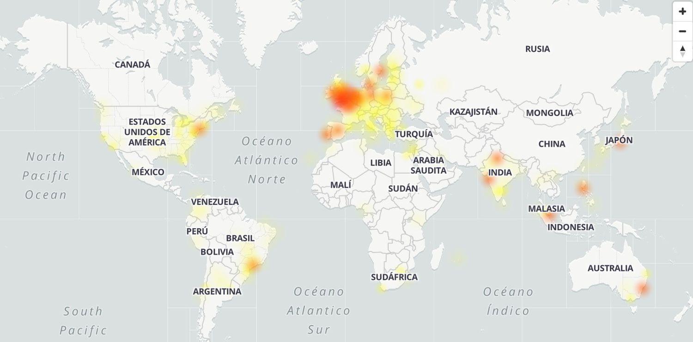 Mapa con los lugares donde daba problemas el servicio de Gmail a las 13.00 hora española.