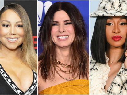 Mariah Carey, Sandra Bullock y Cardi B.