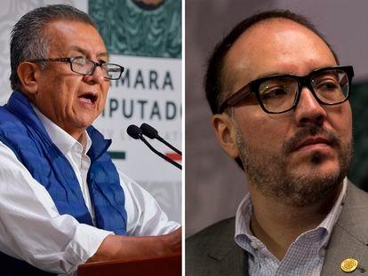 Benjamín Saúl Huerta Corona, diputado de Morena y Mauricio Toledo, diputado del Partido del Trabajo.