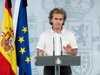 El director del Centro de Coordinación de Alertas y Emergencias Sanitarias, Fernando Simón, en una comparecencia en La Moncloa.