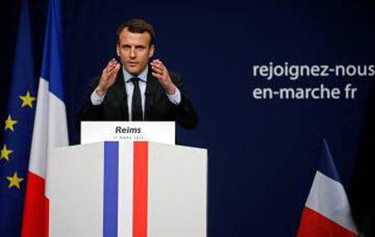 El candidato centrista, Emmanuel Macron, este sábado, en Reims.