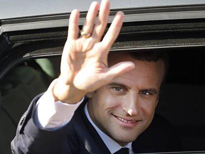 El presidente Macron después de votar el 18 de junio en Le Touquet.