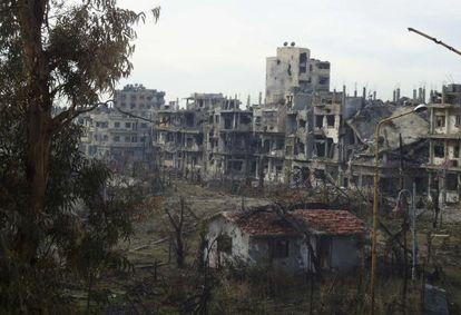 Aspecto de una calle de Homs, el 24 de diciembre.
