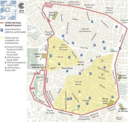 La zona de bajas emisiones Madrid Central, que entró en funcionamiento a finales de 2018.