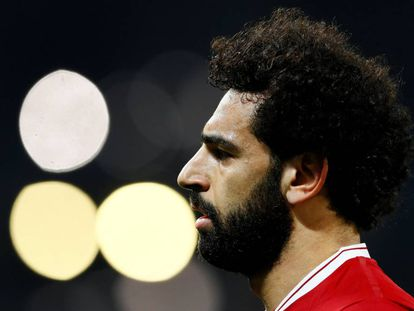 Mohamed Salah, durante el último partido del Liverpool contra el Manchester City.