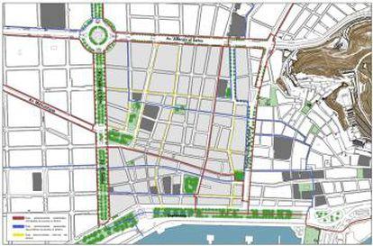 Plano del proyecto de peatonalización de Alicante.