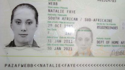 Una imagen del falso pasaporte surafricano de Samantha Lewthwaite.
