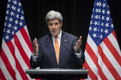 El secretario de Estado Kerry este sábado en Lausana.