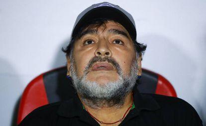 Maradona, tras uno de los últimos partidos con Dorados.