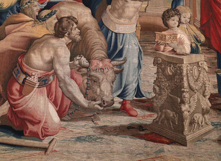 Detalle de uno de los tapices de Rafael.