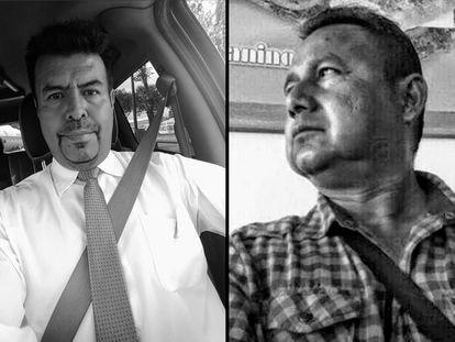 Los periodistas mexicanos Enrique García (izquierda) y Gustavo Sánchez (derecha).
