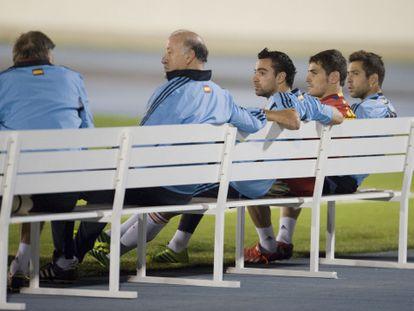 Del Bosque, Xavi, Casillas y Alba, durante el entrenamiento en Río.