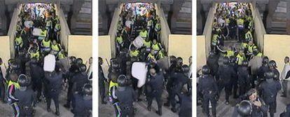 Secuencia grabada por las cámaras de seguridad del estadio Calderón de la agresión (en el centro) a un policía con una silla lanzada por un hincha del Olympique de Marsella.