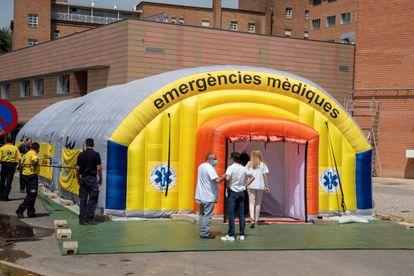 La ampliación del hospital Arnau de Vilanova de Lleida, en la comarca confinada por varios brotes de coronavirus, este miércoles.