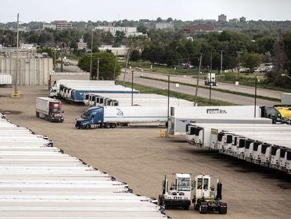 Inactividad en una planta procesadora de JBS en Greeley (Colorado), este martes.