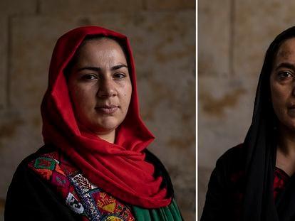 Khadija Amin (izquierda), periodista, y Massouda Kohistani, activista de derechos humanos, refugiadas afganas en la ciudad española donde han sido acogidas, el pasado jueves.