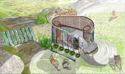 Otra imagen del proyecto Hogar sin casa, en el que se presenta un uso del espacio público para el esparcimiento por una persona con un físico no normativo.