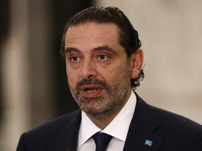 Saad Hariri,  este jueves en el palacio presidencial de Baabda en Beirut.